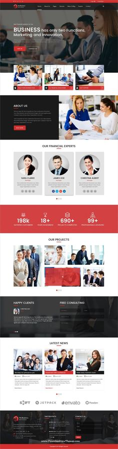 My Business is clean and modern design #PSD template for #onepage #corporate business #website to live preview & download click on Visit