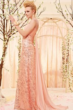 Pink sequin lace tailing dress sequin long evening dress sequin prom dress