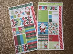 Large or Classic Happy Planner, Erin Condren Vertical and personal planner sizes, Weekly Sticker Kit, Santa, Christmas by TiaTori on Etsy https://www.etsy.com/listing/489589551/large-or-classic-happy-planner-erin