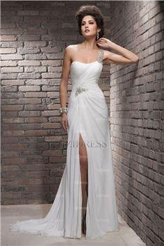 Tubo  Coluna Coração Um Ombro Cauda Corte Chiffon Vestidos de Noiva Vestidos  De Noiva 2016 4a119ff306