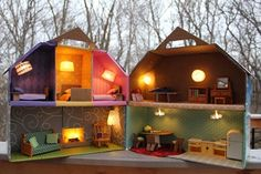 how you can make your own lighted cardboarder dollhouse ~ OMG look how creative!