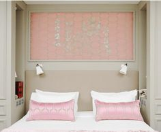 Soft, upholstered headboard tucked into the nook.