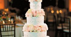 Wedding Cake with Gold Sequins, Flowers | Wedding, Flower and Cakes