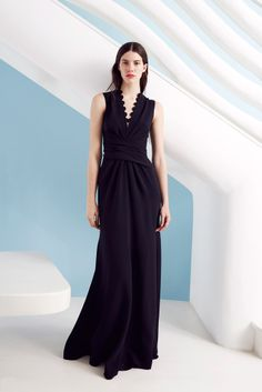 Issa Resort 2015, black or purple v-neck gown with wrapping details at the waist
