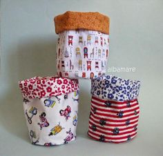 Aquí tenéis un trabajo de costura válido para todos, tanto para expertos como para principiantes: Bonitos cestos de tela.