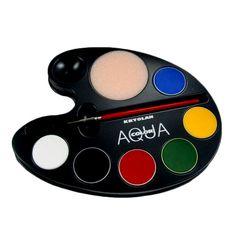 Maquillaje compacto base agua, se utiliza principalmente como maquillaje para la cara y pintura corporal. Presentación paleta de 6 colores (20 ml)