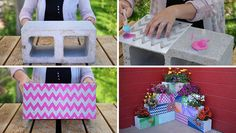 Make your own inexpensive, colorful, modern and fully customizable DIY outdoor planter using cinder blocks, stencils, paint and plants. Diy Planters Outdoor, Succulent Planter Diy, Succulent Landscaping, Succulents Diy, Porch Planter, Planter Ideas, Spring Projects, Backyard Projects, Home And Garden Store