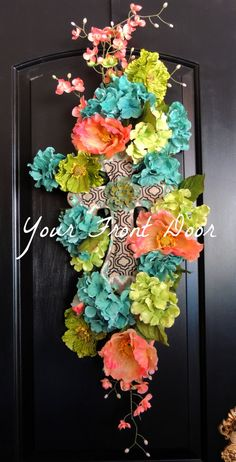 Coral Lime Green and Teal Cross Floral Swag by YourFrontDoorAR