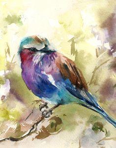 Bird Watercolor Print Lilac bird Watercolor by CanotStopPrints