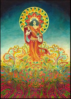 Temperance Goddess of Harmony Tarot ACEO ATC Altar Art Pagan Mythology Psychedelic Bohemian Gypsy Goddess Art Psychedelic Art, Art Visionnaire, Art Carte, Goddess Art, Visionary Art, Painting Edges, Fantasy Art, Original Paintings, Fine Art Prints