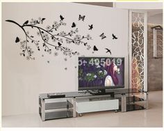 "160x110cm (63""x44"") JM7264 Black Bird Butterfly Wall Sticker Tree Home Decoration DIY Adesivo de Parede Bathroom Bedroom Mural"
