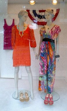 In the window: Great summer dresses; shoes by Sofft
