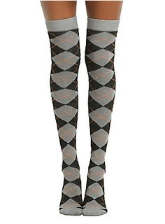 """<p>Get in the Halloween spirit with these grey, black and orange argyle over-the-knee socks.</p>  <ul> <li style=""""LIST-STYLE-POSITION: outside !important; LIST-STYLE-TYPE: disc !important"""">One size fits most</li> <li style=""""LIST-STYLE-POSITION: outside !important; LIST-STYLE-TYPE: disc !important"""">98% polyester; 2% spandex</li> <li style=""""LIST-STYLE-POSITION: outside !important; LIST-STYLE-TYPE: disc !important"""">Wash cold; dry low</li> <li style=""""LIST-STYLE-POSITION: outside !impor..."""