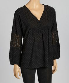 Take a look at this Black Crochet Collar Tunic by Luv2Luv on #zulily today! $20 !!