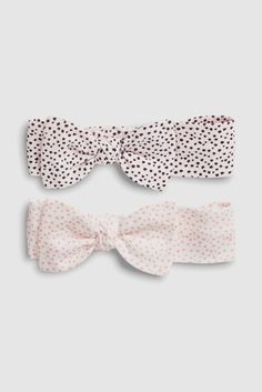 White/Pink Spot Headbands Two Pack (0-18mths)