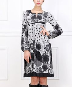 This Gray Floral Notch Neck Dress by Reborn Collection is perfect! #zulilyfinds