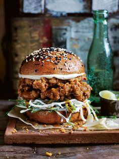 katsu curry fried chicken burger
