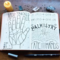 My palmistry mood tracker. 🖐🏼✨🔮 Inspired by Grimoire pages. Swipe ➡️ for a closer look! Bullet Journal Notebook, Bullet Journal Ideas Pages, Bullet Journal Spread, Bullet Journal Inspiration, Journal Pages, Journal Aesthetic, Witch Aesthetic, Magia Elemental, Grimoire Book