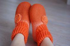 Orange felted slippers