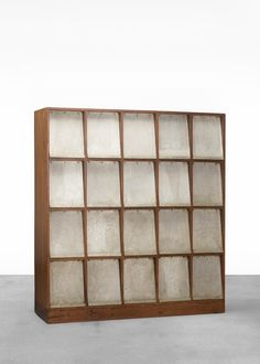 Pierre Jeanneret; Periodical bibliotheque from Punjab University, Chandigarh France/India, c. 1961. teak, aluminum | Wright20.com