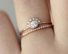 Pear Diamond Crown Ring & Pave Diamond V ring Wedding by artemer