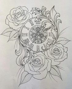 Cover up sneak peek - geniale Tattoos - Clock Tattoo Design, Sketch Tattoo Design, Tattoo Sleeve Designs, Tattoo Sketches, Tattoo Drawings, Sleeve Tattoos For Women, Tattoo Outline Drawing, Forarm Tattoos, Up Tattoos
