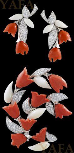 Van Cleef & Arpels Diamond a Coral brož Suite