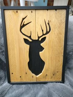 A Stag cutout, my first venture. Made with pallets. - A Stag cutout, my first venture. Made with pallets.mattscreation… A Stag cutout, my first venture. Made with pallets. Arte Pallet, Pallet Art, Barn Wood Projects, Small Wood Projects, Project Projects, Wooden Art, Wood Wall Art, Woodworking Furniture, Woodworking Projects