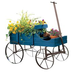 AmazonSmile : Amish Wagon Decorative Garden Planter, Blue, Weathered, Wood : Patio, Lawn & Garden