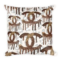 Gold Cheetah Sparkly Throw Pillow | Gold Swarovski Crystal Dripping C's Art Printed on Beautiful Cheetah Print Pillow for a touch of sparkle in your home or office | Glittery Gift for her