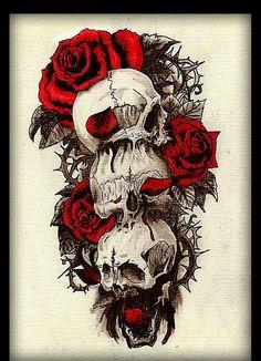 skull and roses tatoo design red and black Weird Tattoos, Body Tattoos, Cute Tattoos, Tatoos, Tatoo Designs, Dragon Tattoo Designs, Arrow Tattoos, Tribal Tattoos, Skull Wallpaper Iphone