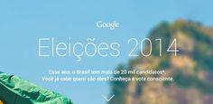 Conhece o Google #Eleições? Em 2014, aproximadamente 100 milhões de brasileiros possuem acesso à internet! O Google lançou recentemente esta #plataforma, que possui uma série de informações sobre os #candidatos. Clique e veja que fantástico esse acesso à informação! http://www.google.com.br/elections/