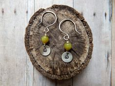 Peace sign earrings, silver charm earrings, green gemstones