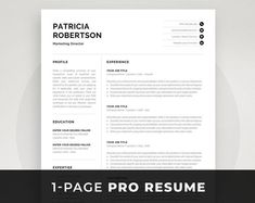 Professional Resume Template 1 and 2 Page Resume Modern CV One Page Resume Template, Modern Resume Template, Resume Templates, Cover Letter For Resume, Cover Letter Template, Letter Templates, Word Cv, Cv Words, Resume References
