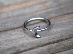 Moon Ring, Silver Moon Ring, 925 Sterling Silver, Vertical Moon