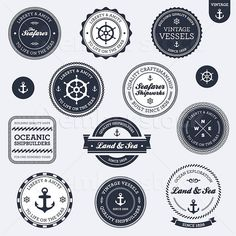 Nautical sailing themed labels and badges.