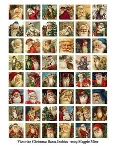 Victorian Santas Collage Sheet - Vintage Santas - 1 x 1 Inch - Digital Download - Printable