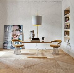 modernes Wohnzimmer Würfel Parkett Verlegerichtung