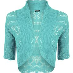 Estella Crochet Knitted Cardigan ($12) ❤ liked on Polyvore featuring tops, cardigans, turquoise, crochet top, cardigan top, short sleeve crochet cardigan, short-sleeve cardigan and short sleeve open front cardigan