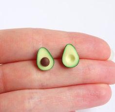 Green miniature avocado ear studs stud earrings asymmetric   Etsy