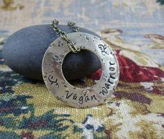 Vegan Warrior - organic texture and patina - brass pendant necklace