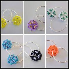 Embroidery on Hama mini beads earrings - SØHESTEN Mini Hama Beads, Hama Mini, Diy Perler Beads, Fuse Beads, Pearler Beads, Beads And Wire, Hama Beads Jewelry, Melty Bead Patterns, Hama Beads Patterns