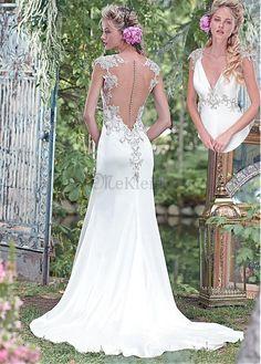 Natürliche Taille Applikation Eleganta Spitze Brautkleid mit Tüll