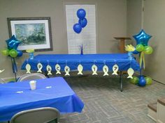 Fishing theme blue and gold banquet