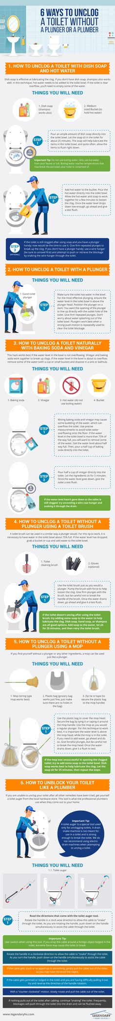6 Ways to Unclog Your #Toilet without a plunger or a plumber - Do you fancy an infographic? There are a lot of them online, but if you want your own please visit http://linfografico.com/en/prices/ Online girano molte infografiche, se ne vuoi realizzare una tutta tua visita http://www.linfografico.com/prezzi/