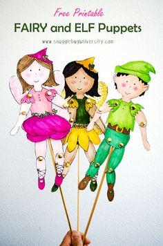, Snugglebug University: A New BOY! Fairy/Elf Puppet Free Printable , Snugglebug University: A New BOY! Paper Dolls Printable, Printable Crafts, Templates Printable Free, Free Printables, Easy Crafts For Kids, Fun Crafts, Kids Diy, Fairy Templates, Grandma Crafts