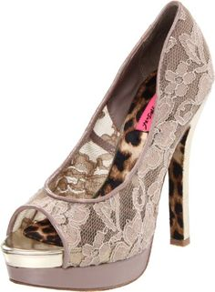 $54.00-$109.95 Betsey Johnson Women's Samantaa Platform Pump,Blush Multi,8.5 M US - Lavish lace covers this Betsey Johnson pump to make it completely irresistible.  Samantaa brings you a double stacked 1 1/2 inch platform with a layer of pale gold and beige patent.  A 5 inch heel sets of the Victorian style blush lace and gives you a mix of new and vintage fashion. http://www.amazon.com/dp/B0052EZKUY/?tag=icypnt-20