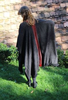 Handwoven Poncho Coat in Graphite Grey and Red Stripes by Akkord