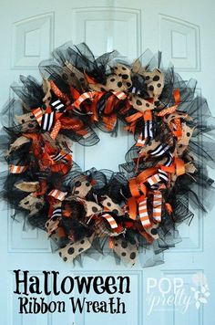 DIY Halloween Ribbon Wreath 1