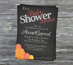 Printable Baby girl Shower brunch invitation - rose pink and orange chalkboard - 5x7 or 4x6 digital PDF and JPEG file on Etsy, $15.00